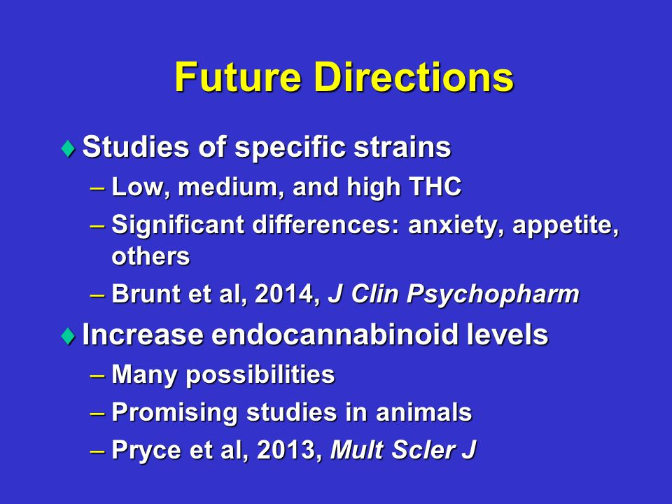 Future Directions  Studies of specific strains –Low, medium, and high THC –Significant differences: anxiety, appetite, others –Brunt et al, 2014, J Clin Psychopharm  Increase endocannabinoid levels –Many possibilities –Promising studies in animals –Pryce et al, 2013, Mult Scler J