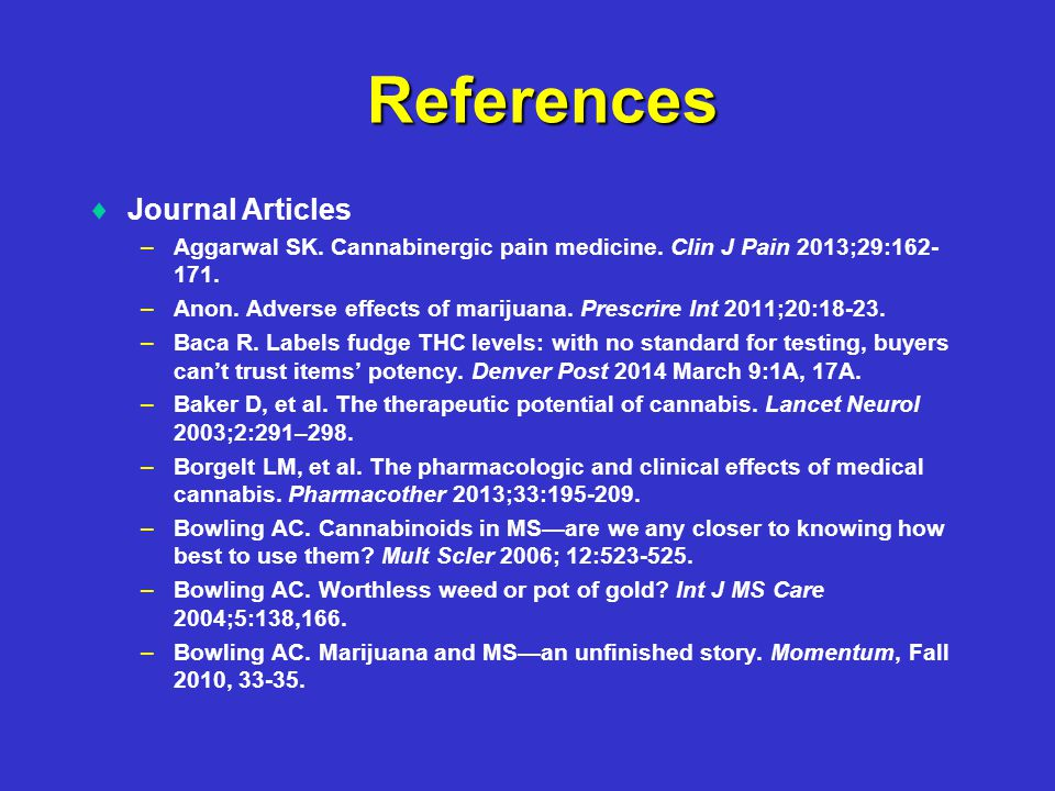 References   Journal Articles – –Aggarwal SK. Cannabinergic pain medicine.