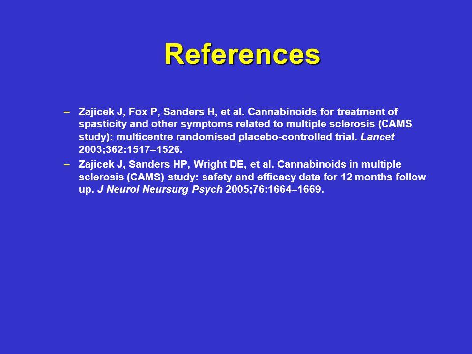 References – –Zajicek J, Fox P, Sanders H, et al.