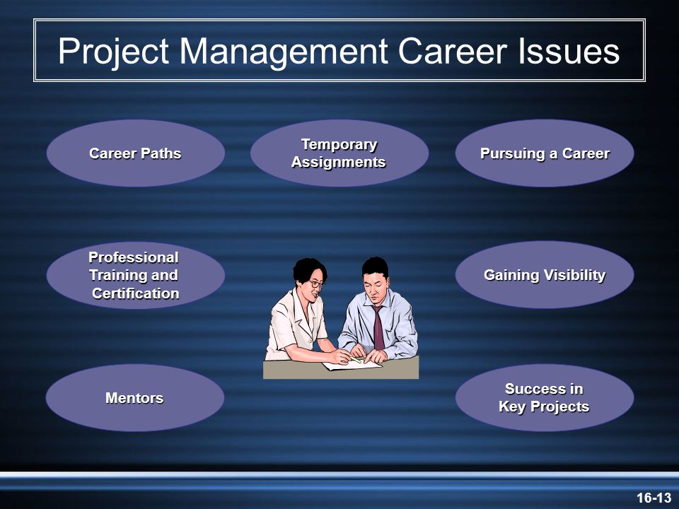 16-13 Project Management Career Issues Career Paths Temporary Assignments Pursuing a Career Professional Training and Certification Gaining Visibility Mentors Success in Key Projects