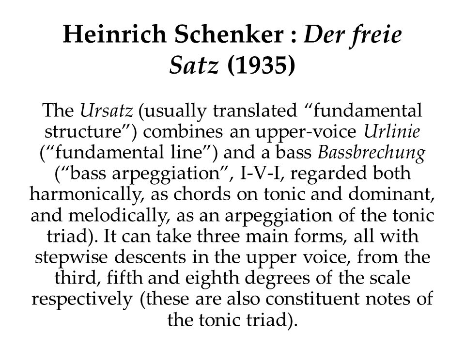 Heinrich Schenker : Der freie Satz (1935) In the following examples, taken from his first chapter dealing with the middleground, Schenker systematically shows the various possibilities for elaborating each of these three patterns at the first middleground level (i.e.