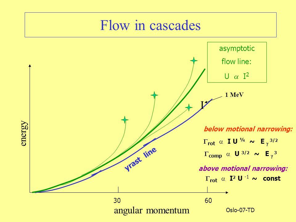 Oslo-07-TD Flow in cascades angular momentum energy 60 30 I 1 MeV yrast line asymptotic flow line: U  I 2  comp  U 3/2 ~ E  3  rot  I U ¼ ~ E  3/2  rot  I 2 U -1 ~ const below motional narrowing: above motional narrowing: