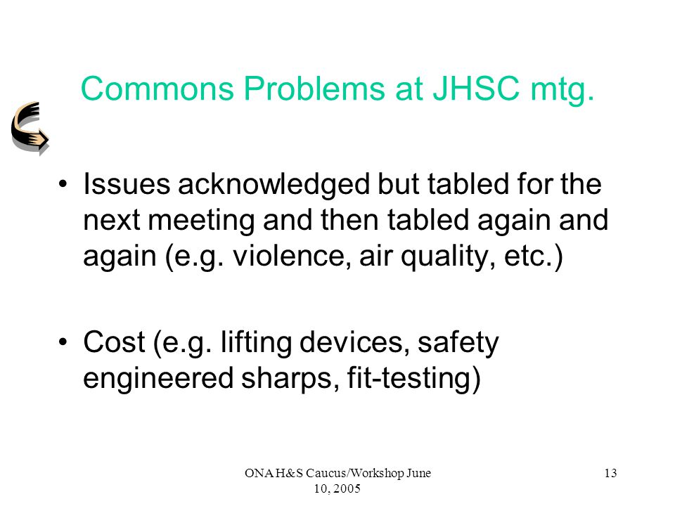 ONA H&S Caucus/Workshop June 10, 2005 12 Make Employer comply with OHSA and Regs – Cont. Written Recommendation can include: Development or Revisions