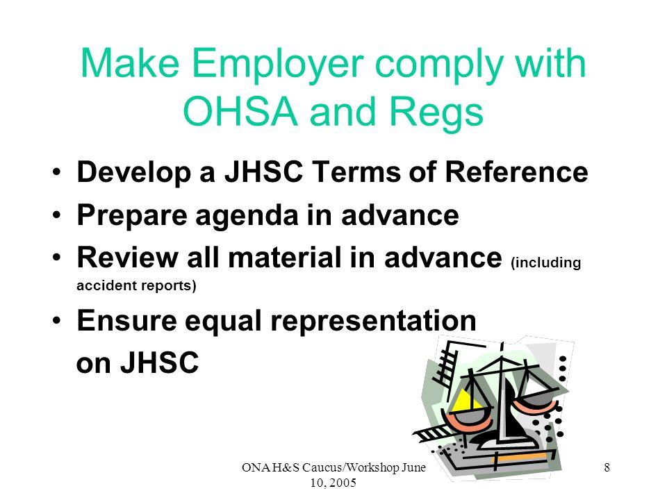 ONA H&S Caucus/Workshop June 10, 2005 7 Examples of Hazards/Issues requiring Measures & Procedures under Act & Reg.
