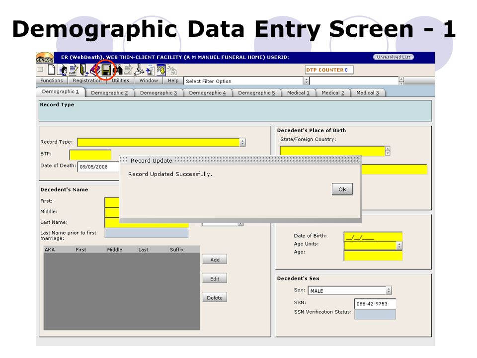 Demographic Data Entry Screen - 1