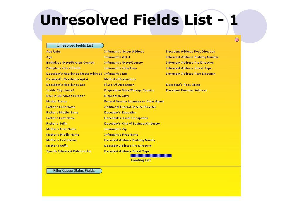 Unresolved Fields List - 1