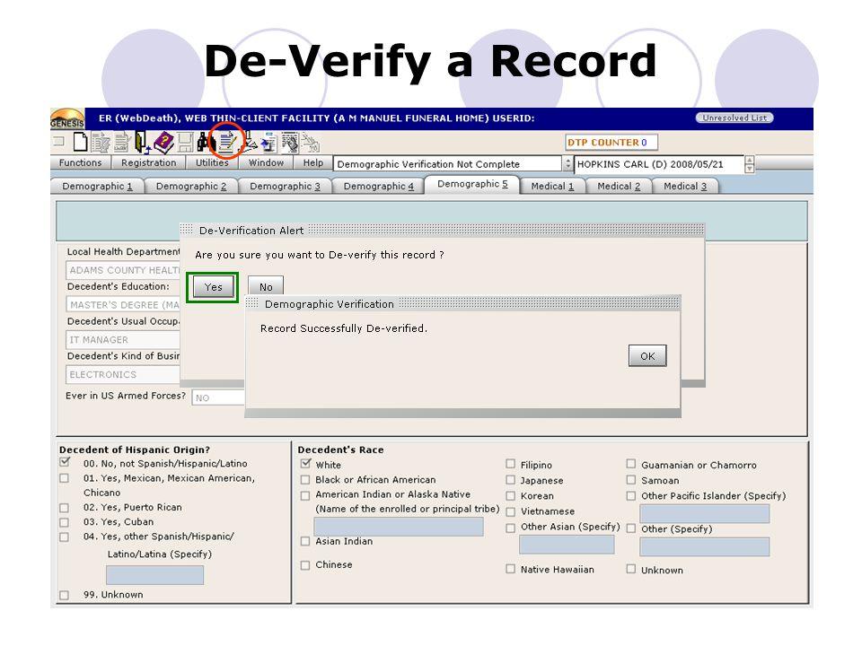De-Verify a Record