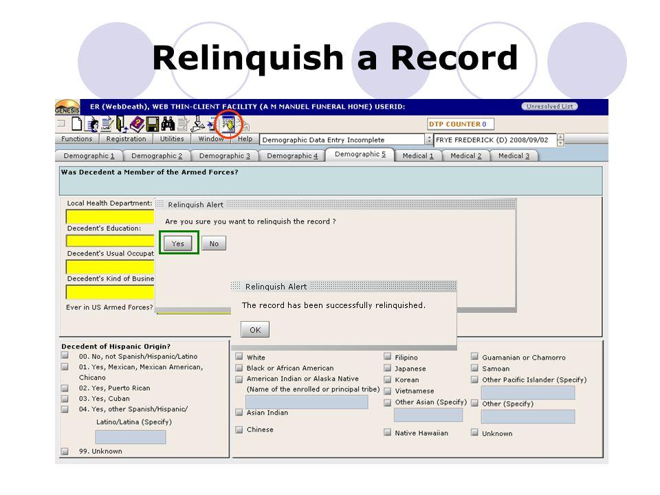 Relinquish a Record