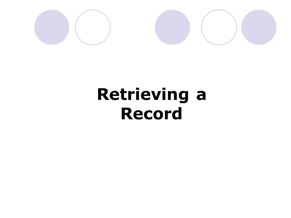 Retrieving a Record
