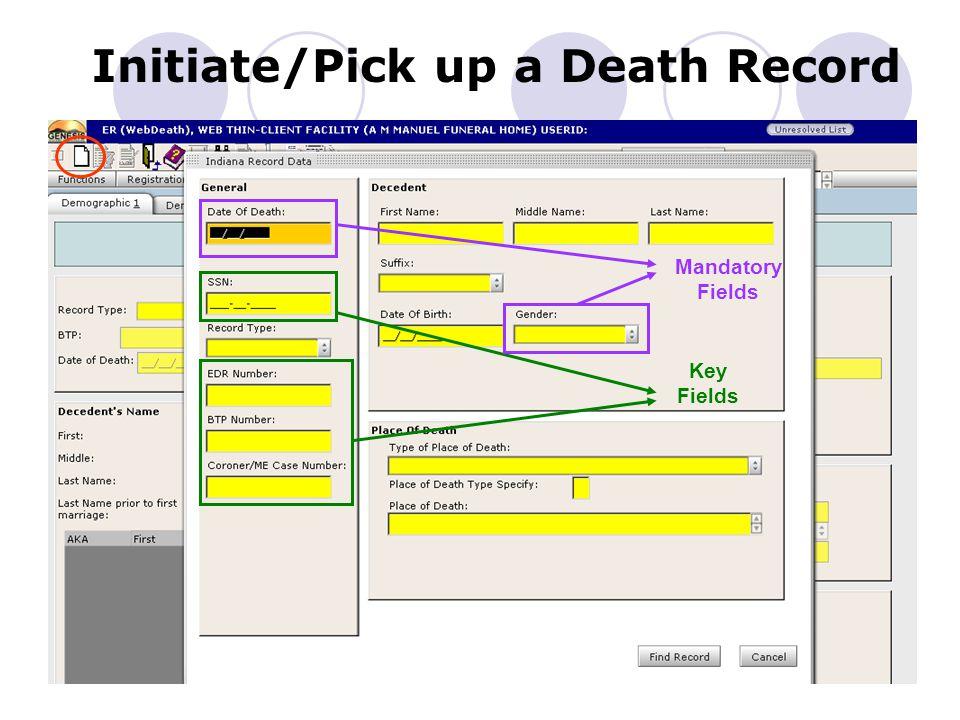 Initiate a Death Record