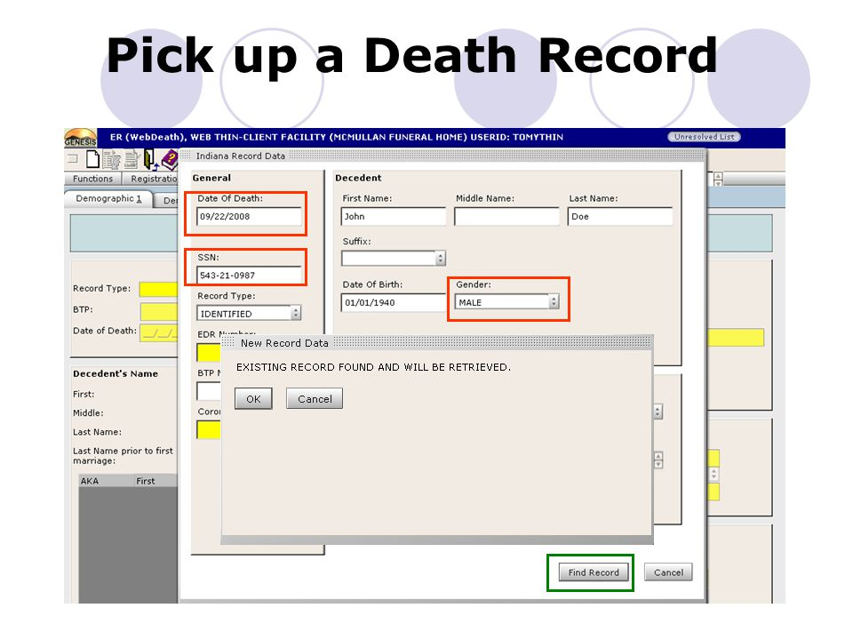 Initiate/Pick up a Death Record – 1 Key Field data does NOT match existing Record