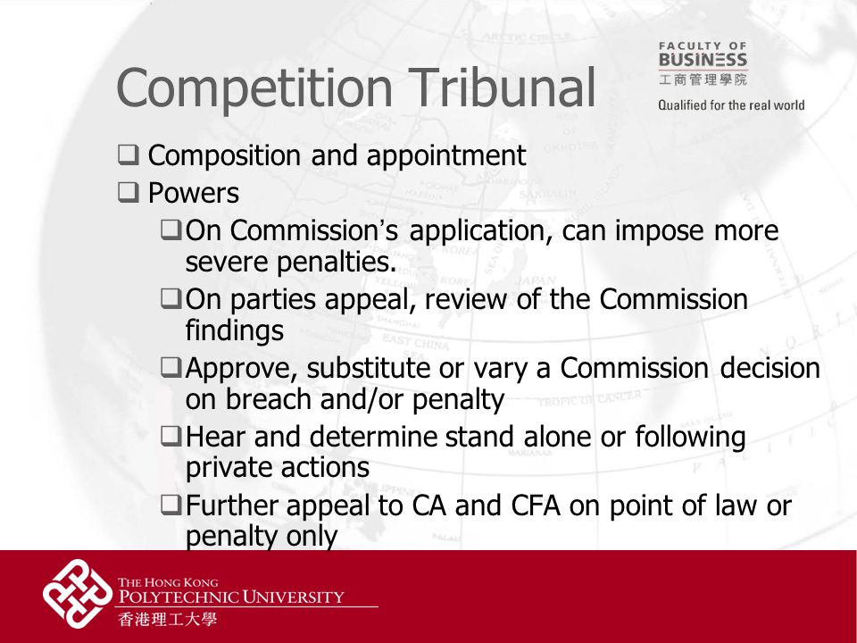 Competition Tribunal  Composition and appointment  Powers  On Commission ' s application, can impose more severe penalties.