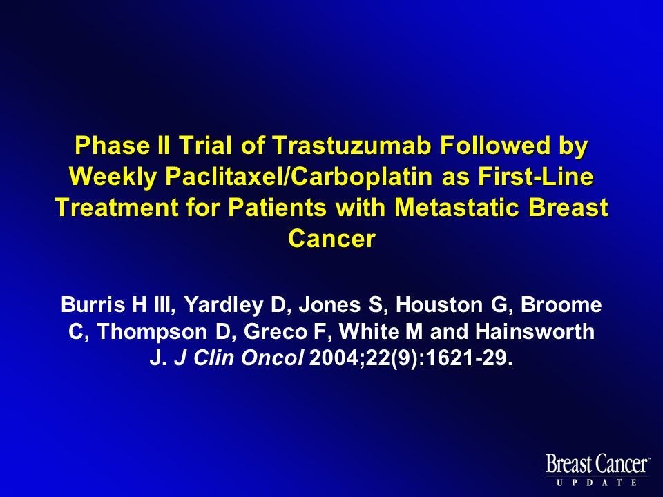 Phase II Trial of Trastuzumab Followed by Weekly Paclitaxel/Carboplatin as First-Line Treatment for Patients with Metastatic Breast Cancer Burris H III, Yardley D, Jones S, Houston G, Broome C, Thompson D, Greco F, White M and Hainsworth J.