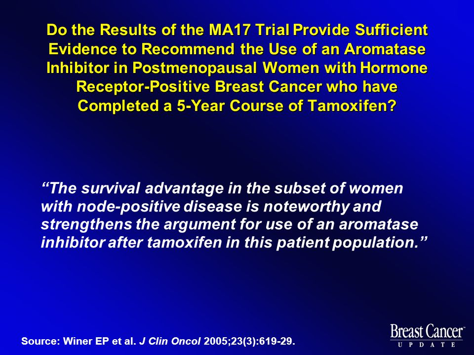 Do the Results of the MA17 Trial Provide Sufficient Evidence to Recommend the Use of an Aromatase Inhibitor in Postmenopausal Women with Hormone Receptor-Positive Breast Cancer who have Completed a 5-Year Course of Tamoxifen.