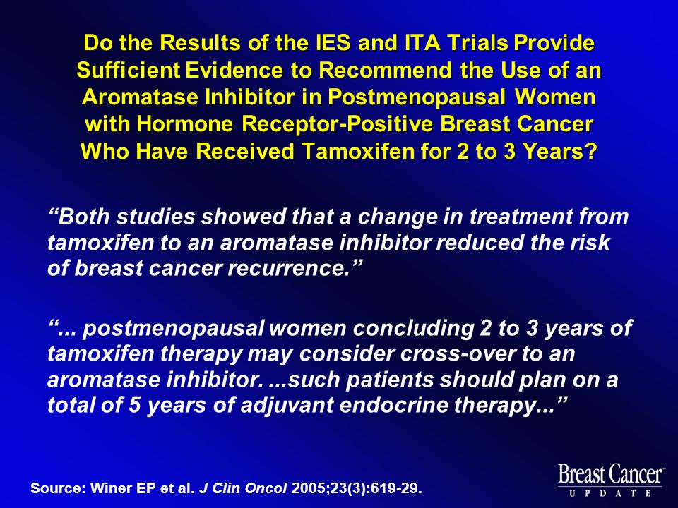 Do the Results of the IES and ITA Trials Provide Sufficient Evidence to Recommend the Use of an Aromatase Inhibitor in Postmenopausal Women with Hormone Receptor-Positive Breast Cancer Who Have Received Tamoxifen for 2 to 3 Years.