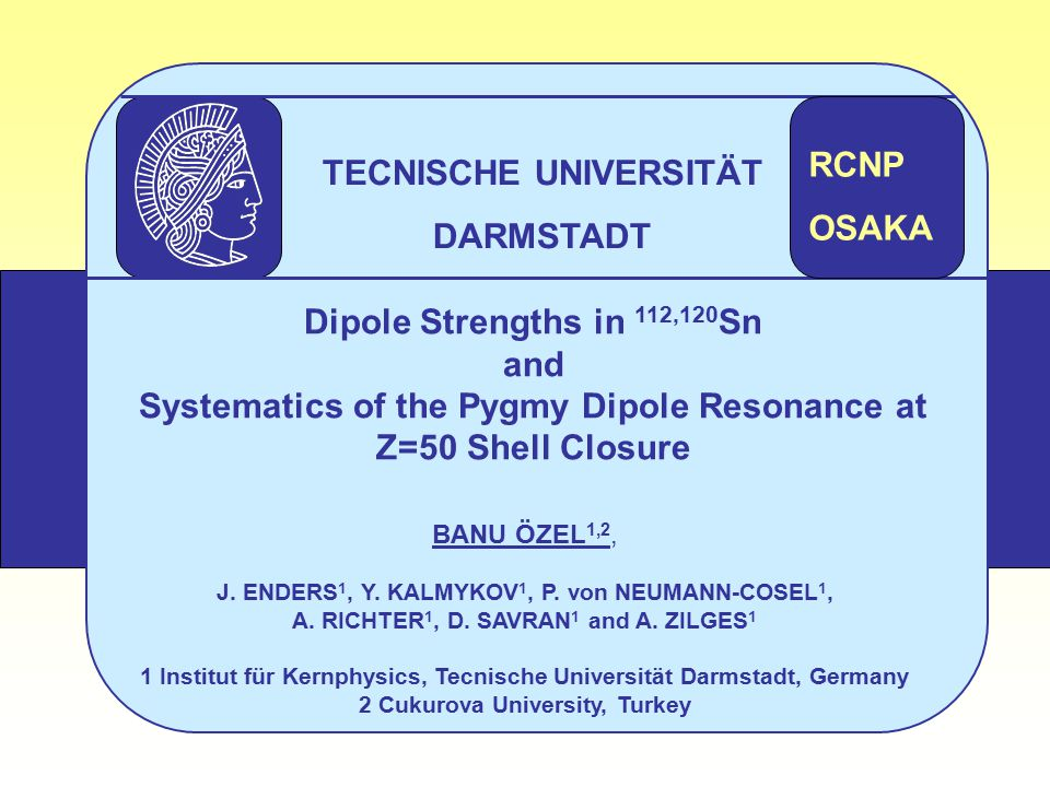 Dipole Strengths in 112,120 Sn and Systematics of the Pygmy Dipole Resonance at Z=50 Shell Closure BANU ÖZEL 1,2, J.