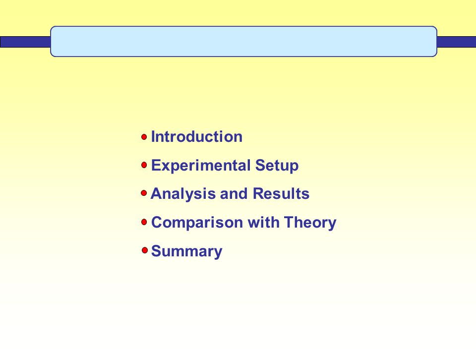 Introduction Experimental Setup Analysis and Results Comparison with Theory Summary