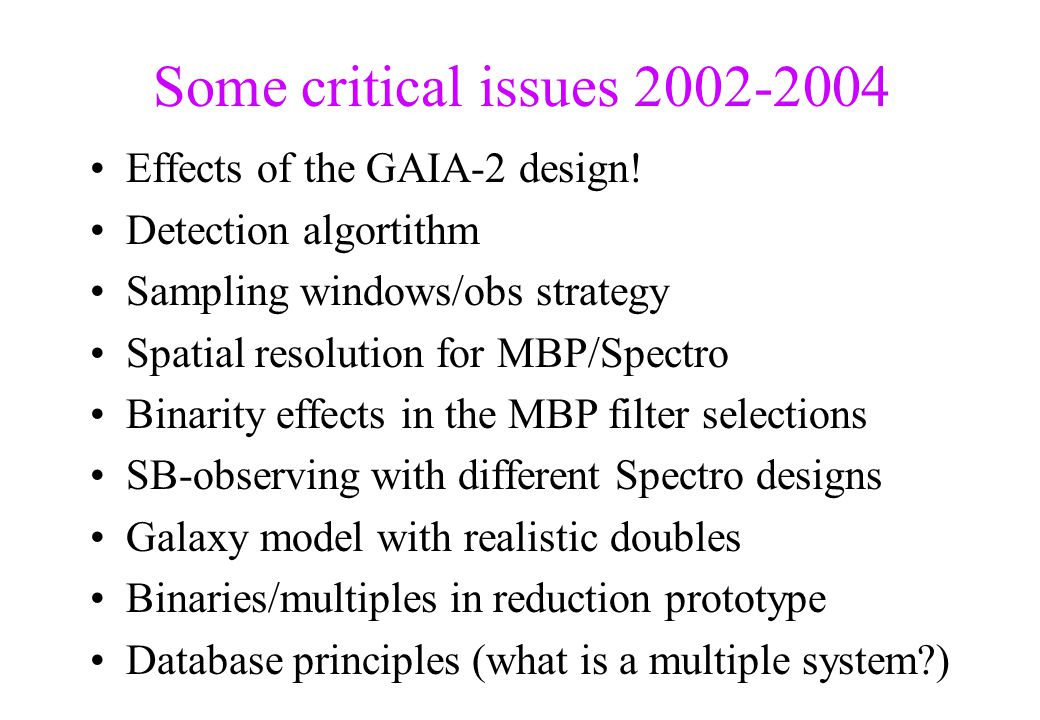 Some critical issues 2002-2004 Effects of the GAIA-2 design! Detection algortithm Sampling windows/obs strategy Spatial resolution for MBP/Spectro Bin