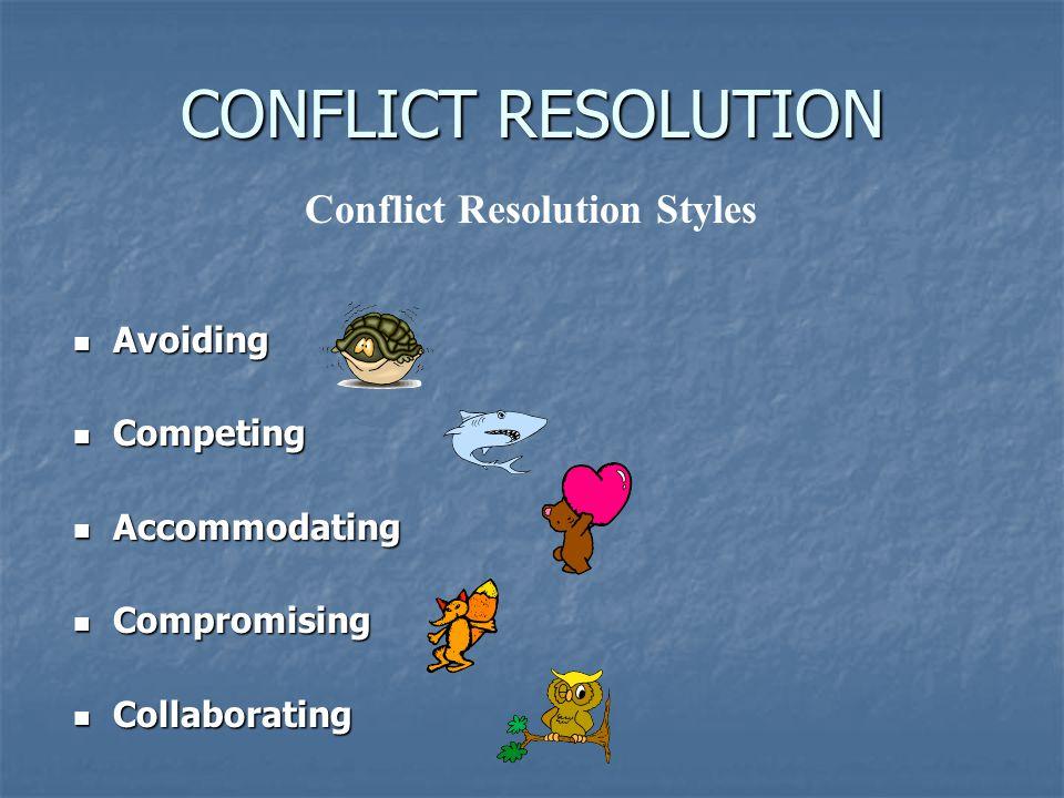 CONFLICT RESOLUTION Avoiding Avoiding Competing Competing Accommodating Accommodating Compromising Compromising Collaborating Collaborating Conflict Resolution Styles