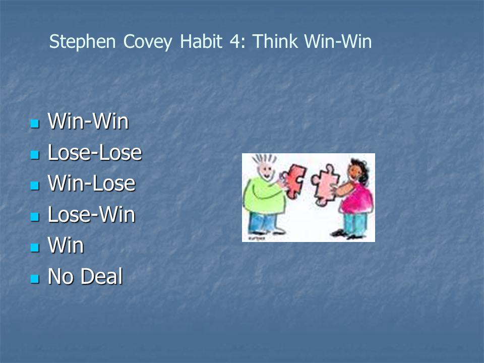 Win-Win Win-Win Lose-Lose Lose-Lose Win-Lose Win-Lose Lose-Win Lose-Win Win Win No Deal No Deal Stephen Covey Habit 4: Think Win-Win