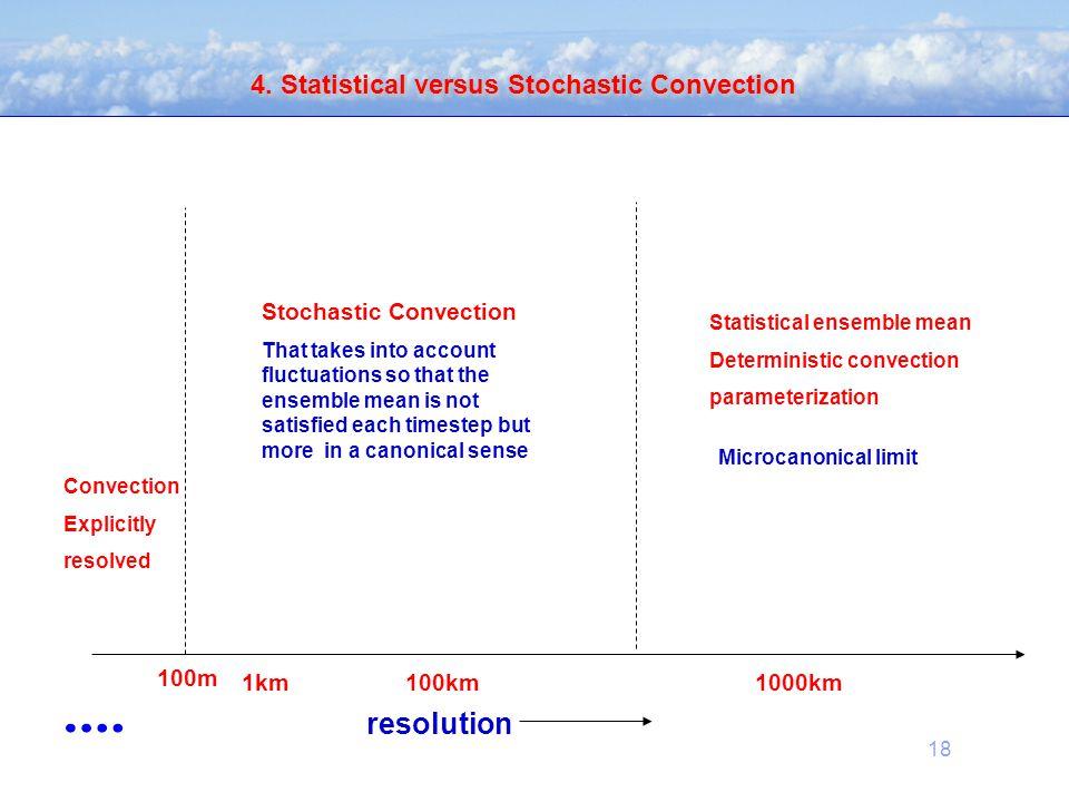 18 4. Statistical versus Stochastic Convection resolution 100m 1km1000km100km Convection Explicitly resolved Statistical ensemble mean Deterministic c