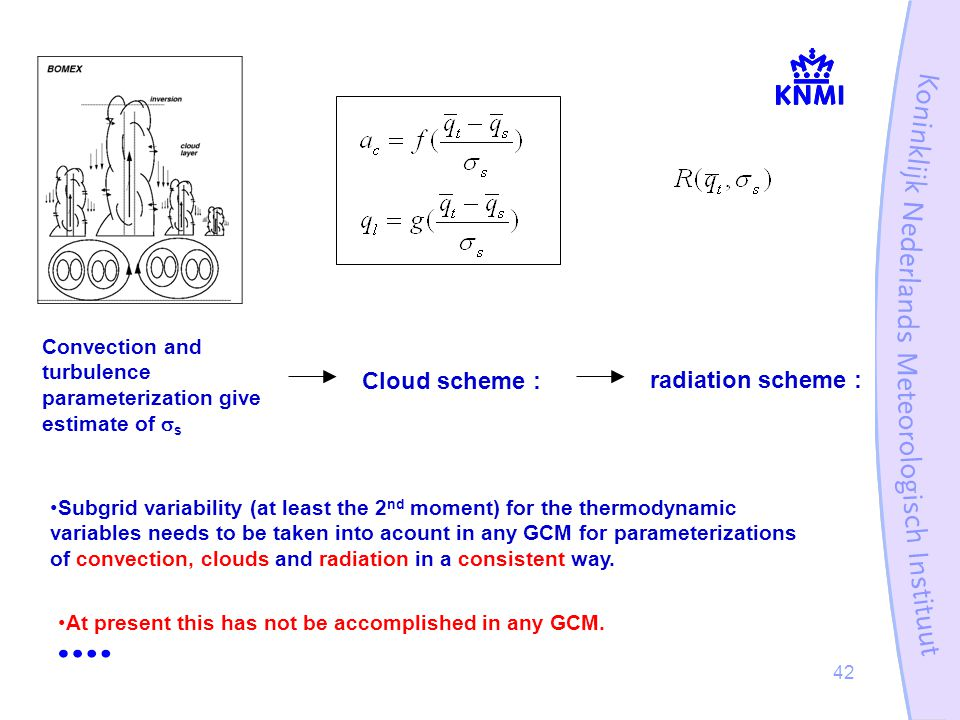 42 Convection and turbulence parameterization give estimate of  s Cloud scheme : radiation scheme : Subgrid variability (at least the 2 nd moment) for the thermodynamic variables needs to be taken into acount in any GCM for parameterizations of convection, clouds and radiation in a consistent way.