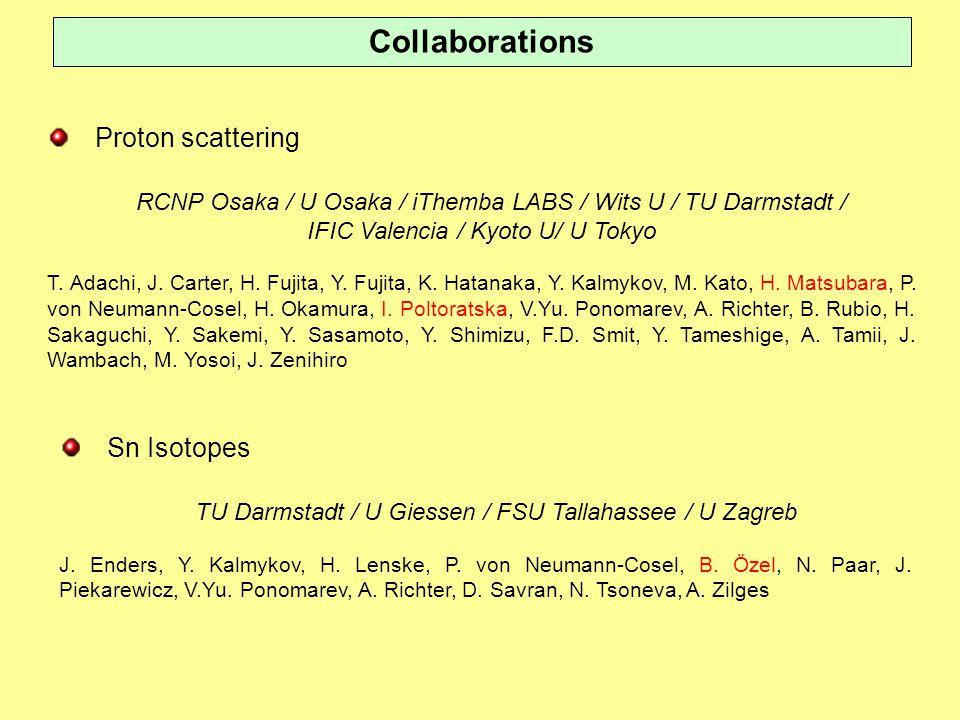 Collaborations Proton scattering RCNP Osaka / U Osaka / iThemba LABS / Wits U / TU Darmstadt / IFIC Valencia / Kyoto U/ U Tokyo T.