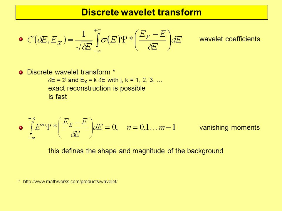 Discrete wavelet transform wavelet coefficients Discrete wavelet transform *  E = 2 j and E X = k ·  E with j, k = 1, 2, 3, … exact reconstruction is possible is fast ** http://www.mathworks.com/products/wavelet/ vanishing moments this defines the shape and magnitude of the background