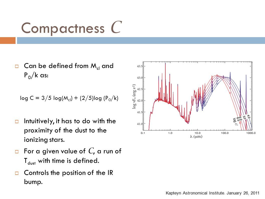 Compactness C  Can be defined from M cl and P 0 /k as: log C = 3/5 log(M cl ) + (2/5)log (P 0 /k)  Intuitively, it has to do with the proximity of the dust to the ionizing stars.