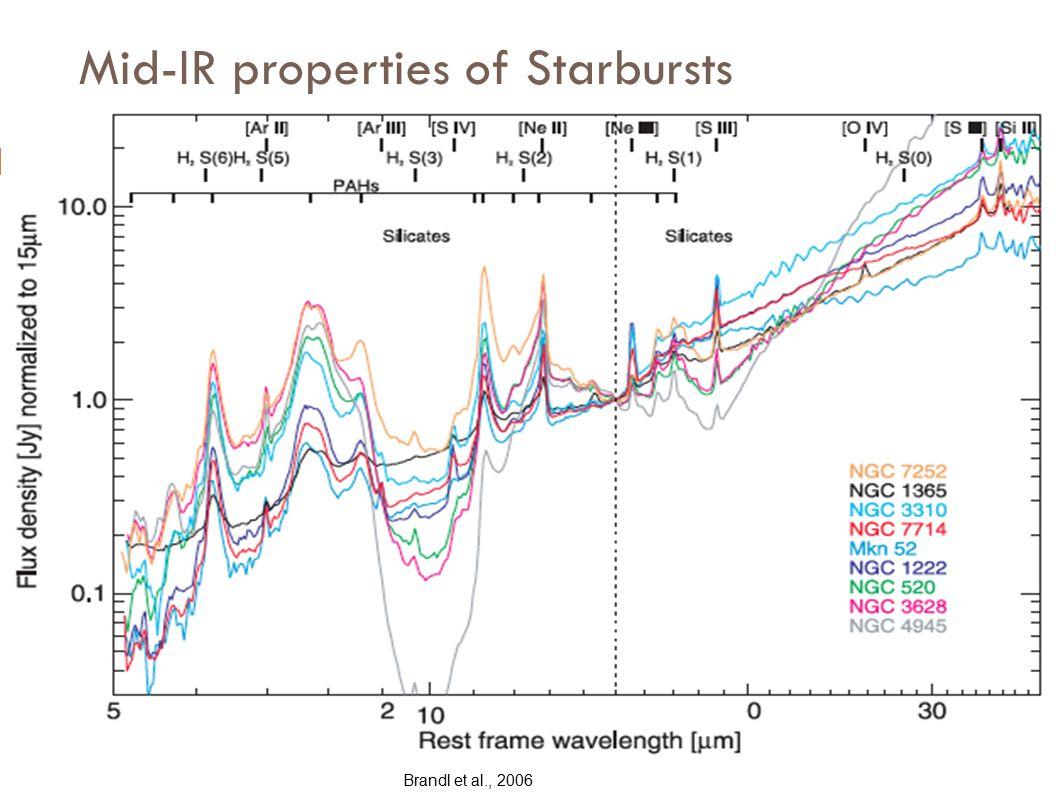 Mid-IR properties of Starbursts Brandl et al., 2006