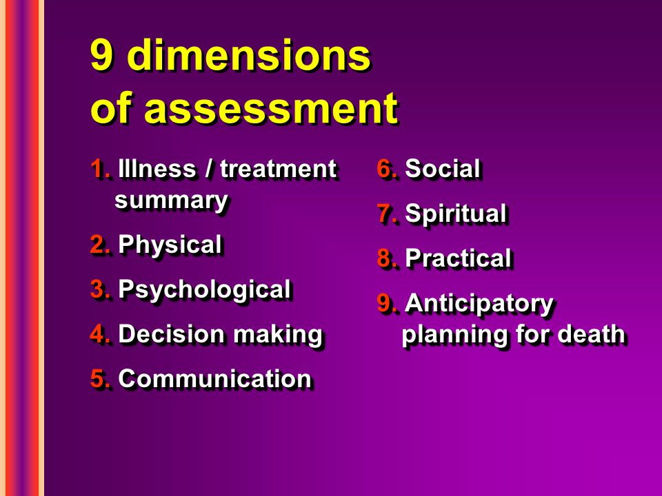 9 dimensions of assessment 1. Illness / treatment summary 2.