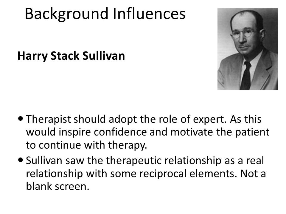Background Influences Sullivan's view was that anxiety does not stem from the frustration of biological need but is introduced through interaction with the care giver.