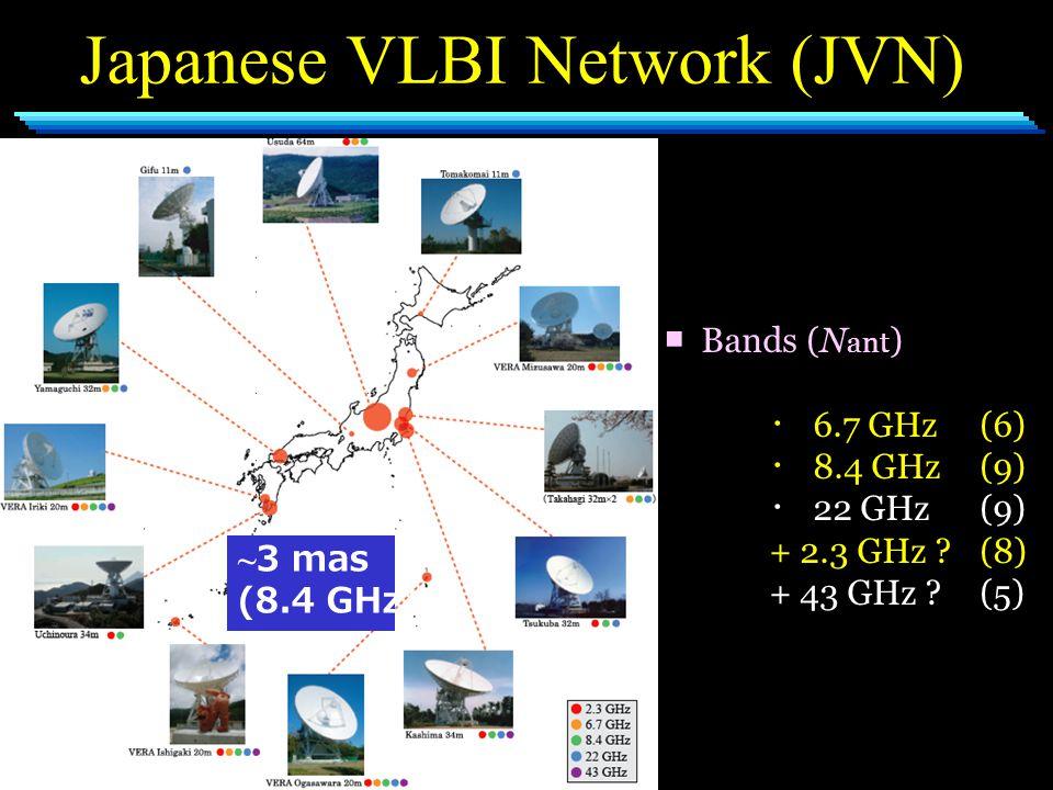 Japanese VLBI Network (JVN) ■ Bands (N ant ) ・ 6.7 GHz (6) ・ 8.4 GHz(9) ・ 22 GHz(9) + 2.3 GHz ?(8) + 43 GHz ?(5) ~ 3 mas (8.4 GHz)