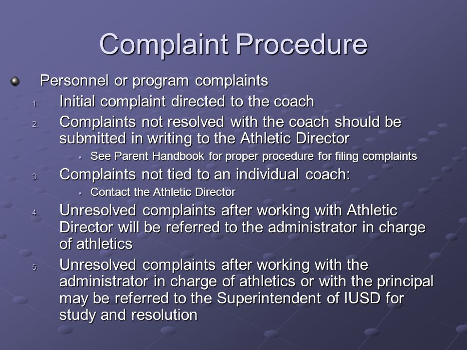 Complaint Procedure Personnel or program complaints 1.