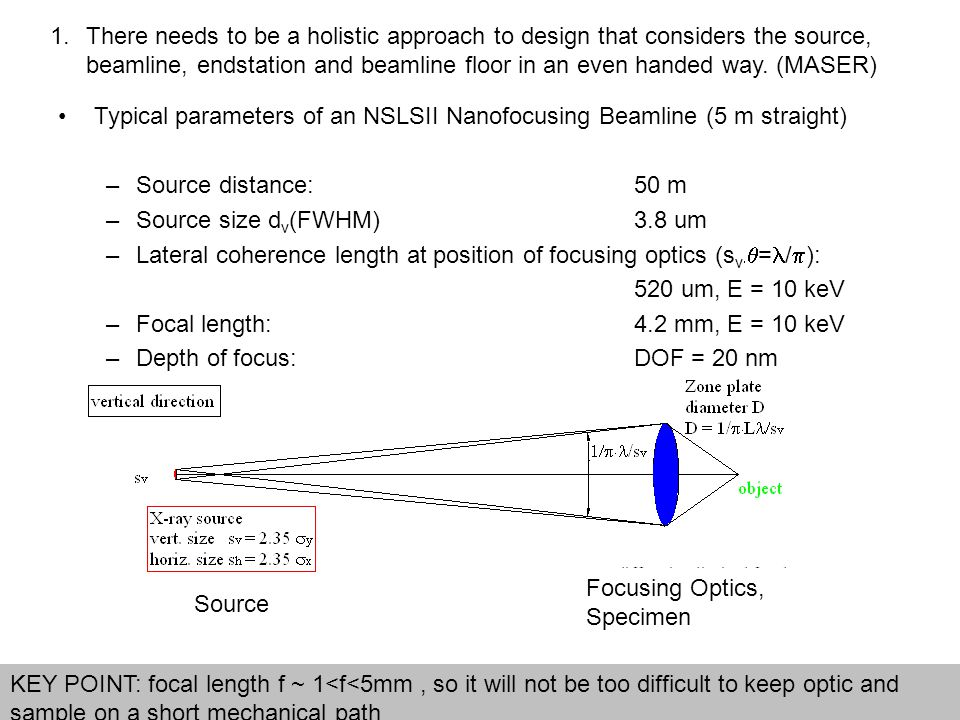 1.There needs to be a holistic approach to design that considers the source, beamline, endstation and beamline floor in an even handed way. (MASER) Ty