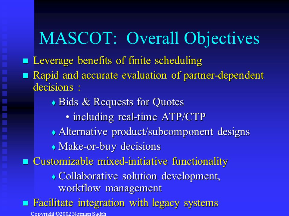 Copyright ©2002 Norman Sadeh MASCOT: Overall Objectives Leverage benefits of finite scheduling Leverage benefits of finite scheduling Rapid and accurate evaluation of partner-dependent decisions : Rapid and accurate evaluation of partner-dependent decisions :  Bids & Requests for Quotes including real-time ATP/CTPincluding real-time ATP/CTP  Alternative product/subcomponent designs  Make-or-buy decisions Customizable mixed-initiative functionality Customizable mixed-initiative functionality  Collaborative solution development, workflow management Facilitate integration with legacy systems Facilitate integration with legacy systems