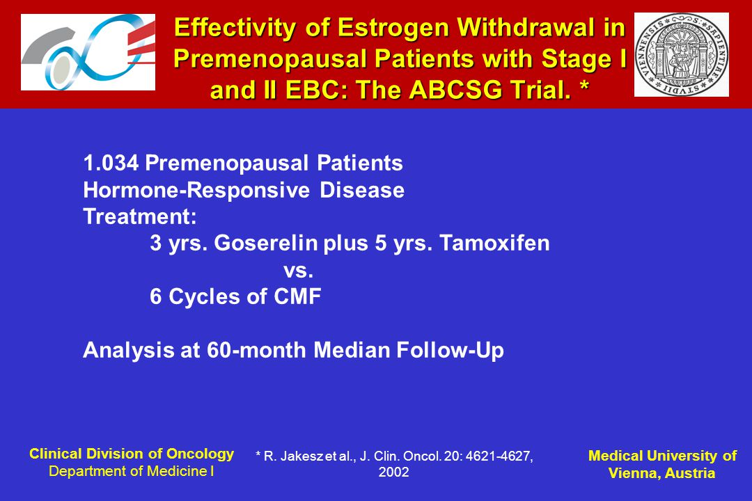 Clinical Division of Oncology Department of Medicine I Medical University of Vienna, Austria Effectivity of Estrogen Withdrawal in Premenopausal Patients with Stage I and II EBC: The ABCSG Trial.
