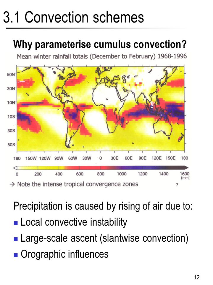 12 3.1 Convection schemes Why parameterise cumulus convection? Precipitation is caused by rising of air due to: Local convective instability Large-sca