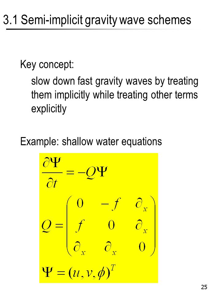 25 3.1 Semi-implicit gravity wave schemes Key concept: slow down fast gravity waves by treating them implicitly while treating other terms explicitly