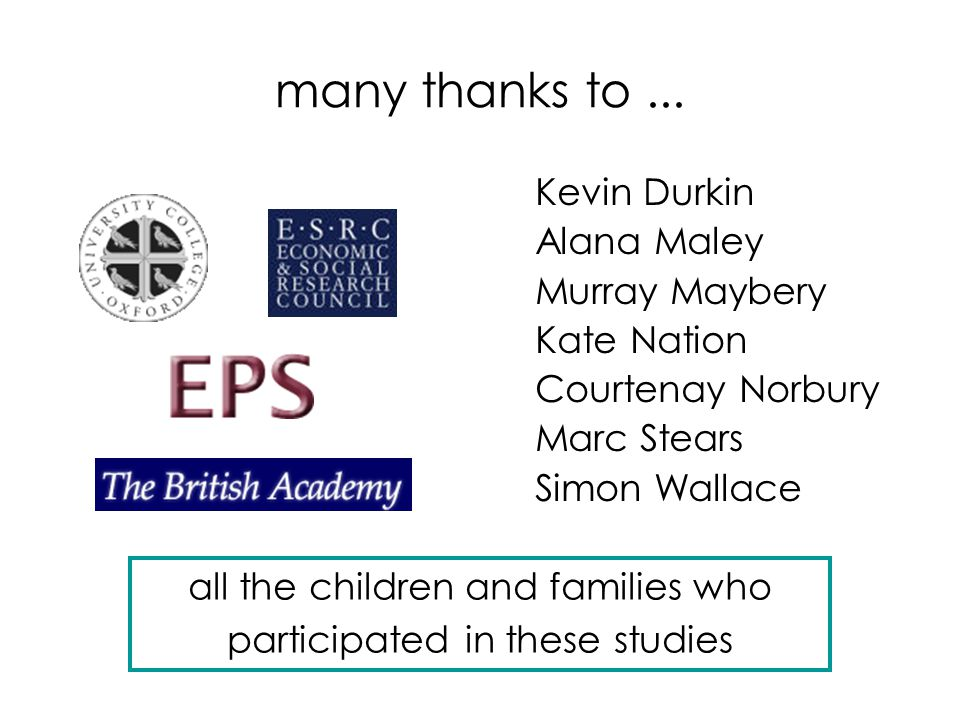 many thanks to... Kevin Durkin Alana Maley Murray Maybery Kate Nation Courtenay Norbury Marc Stears Simon Wallace all the children and families who pa