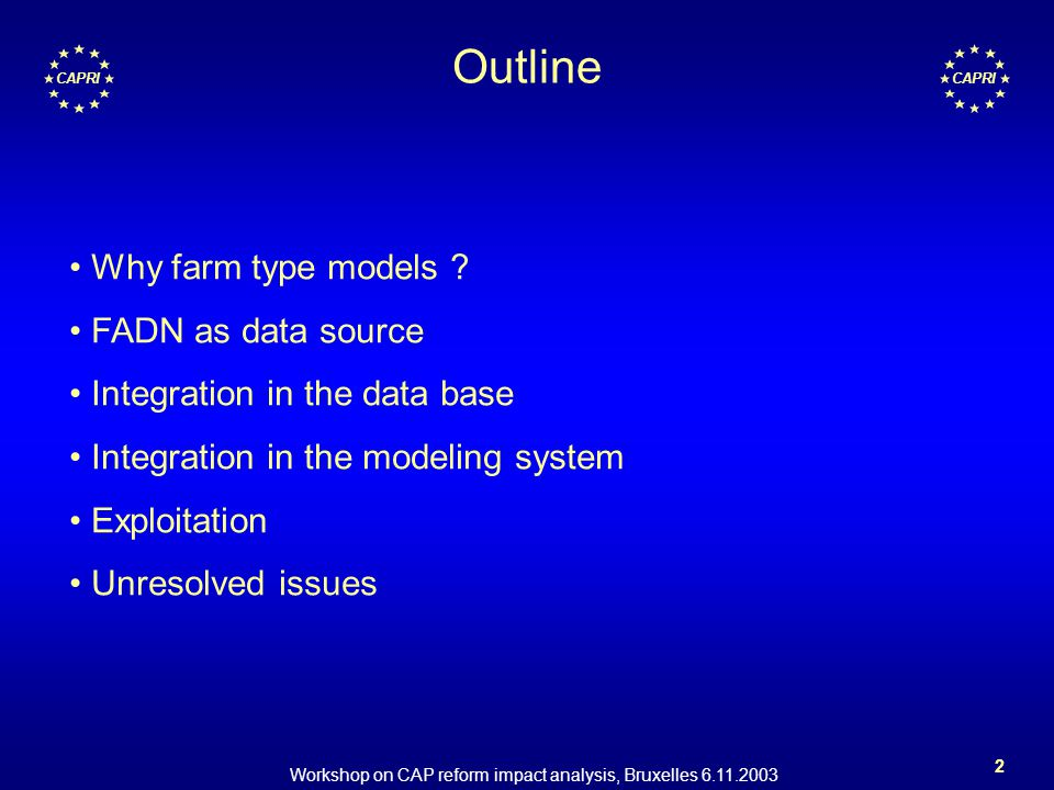 Workshop on CAP reform impact analysis, Bruxelles 6.11.2003 2 CAPRI Outline Why farm type models ? FADN as data source Integration in the data base In