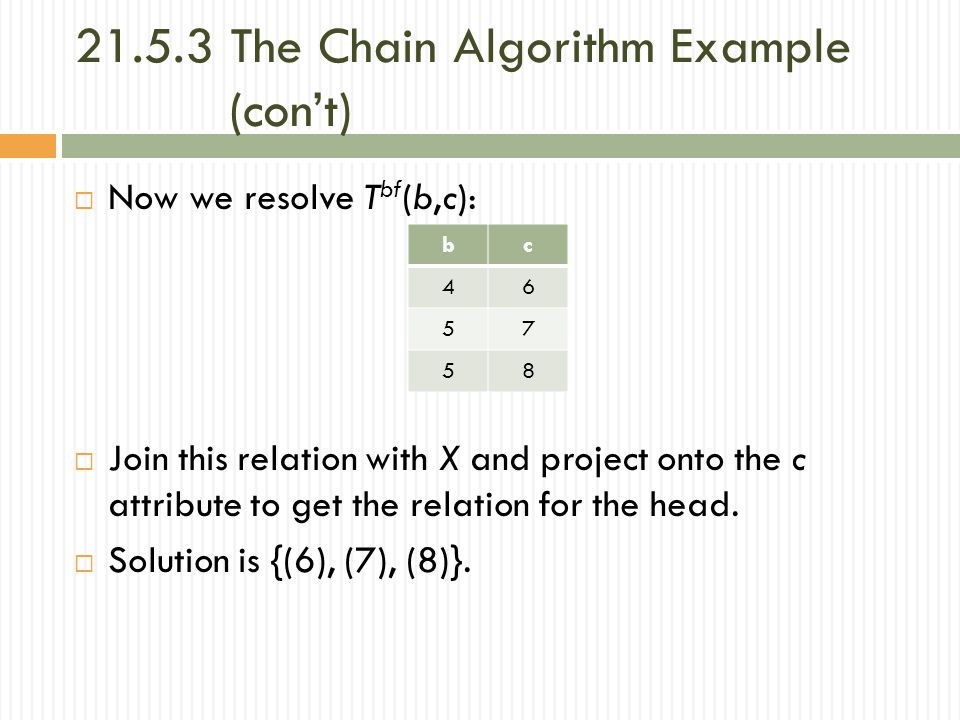 21.5.3 The Chain Algorithm Example (con't)  Now we resolve T bf (b,c):  Join this relation with X and project onto the c attribute to get the relation for the head.