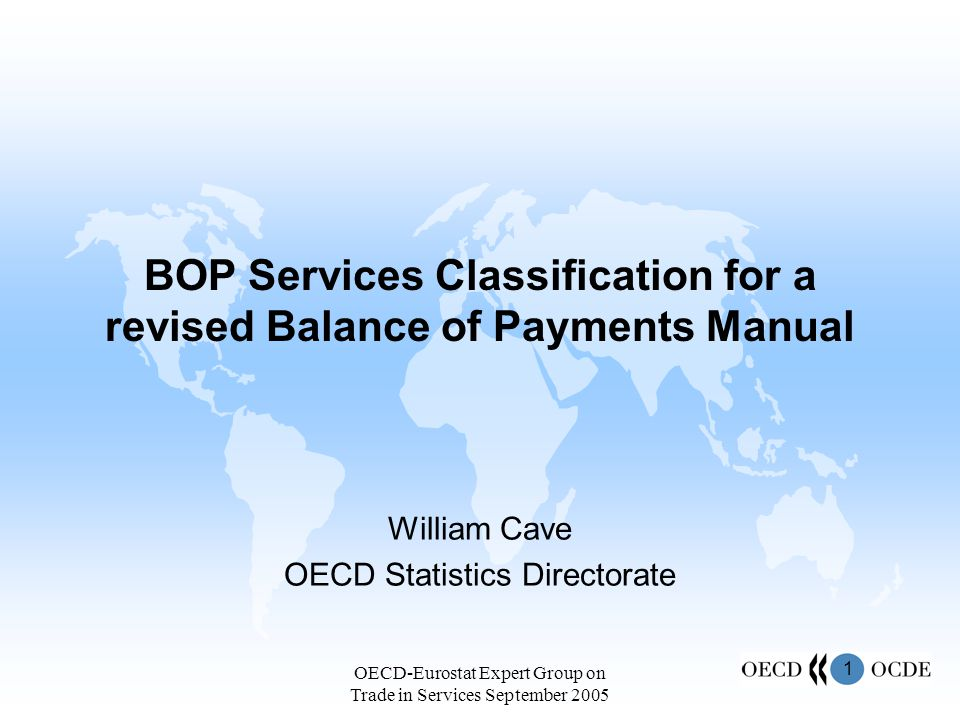 2 OECD-Eurostat Expert Group on Trade in Services September 2005 Goods and services overview for BOP