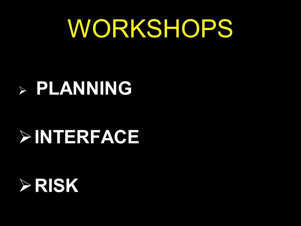 WORKSHOPS  PLANNING  INTERFACE  RISK