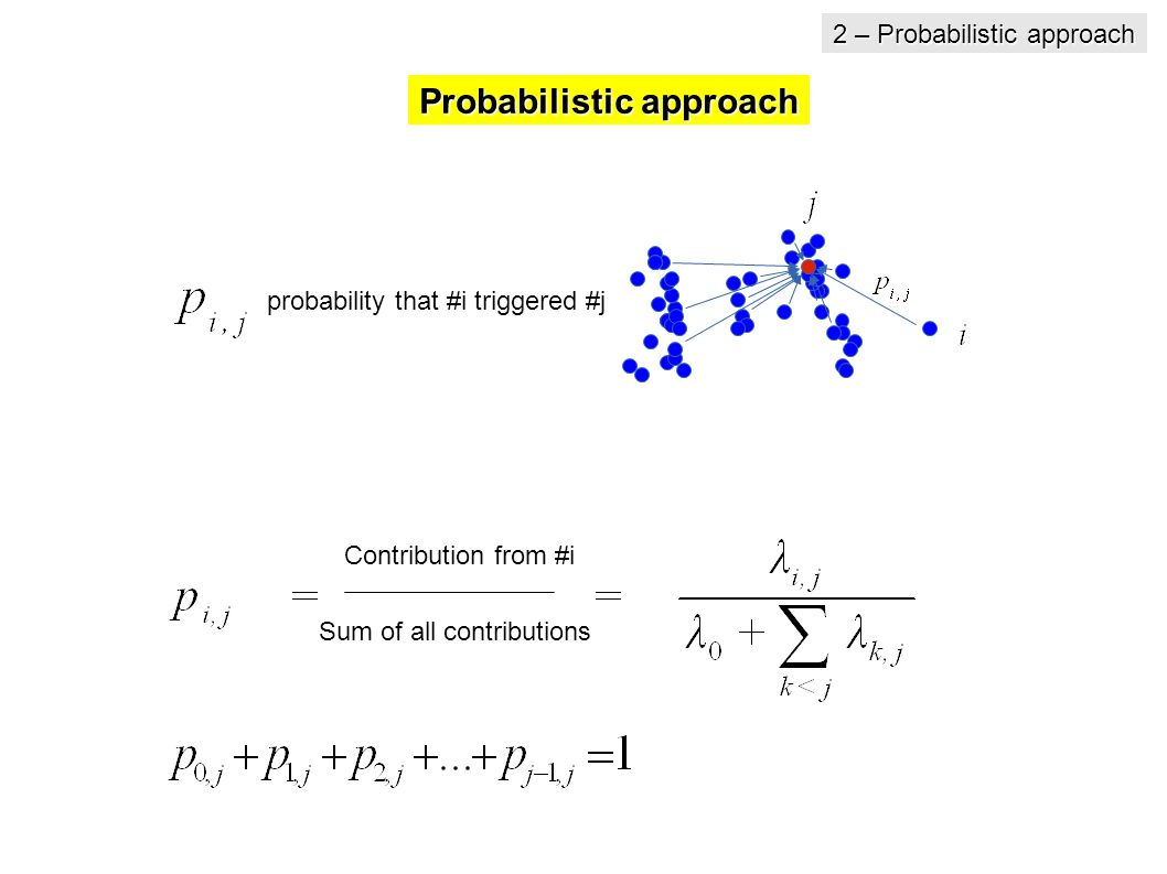 probability that #i triggered #j Contribution from #i Sum of all contributions Probabilistic approach 2 – Probabilistic approach