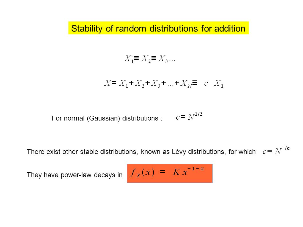 For normal (Gaussian) distributions : There exist other stable distributions, known as Lévy distributions, for which They have power-law decays in Stability of random distributions for addition