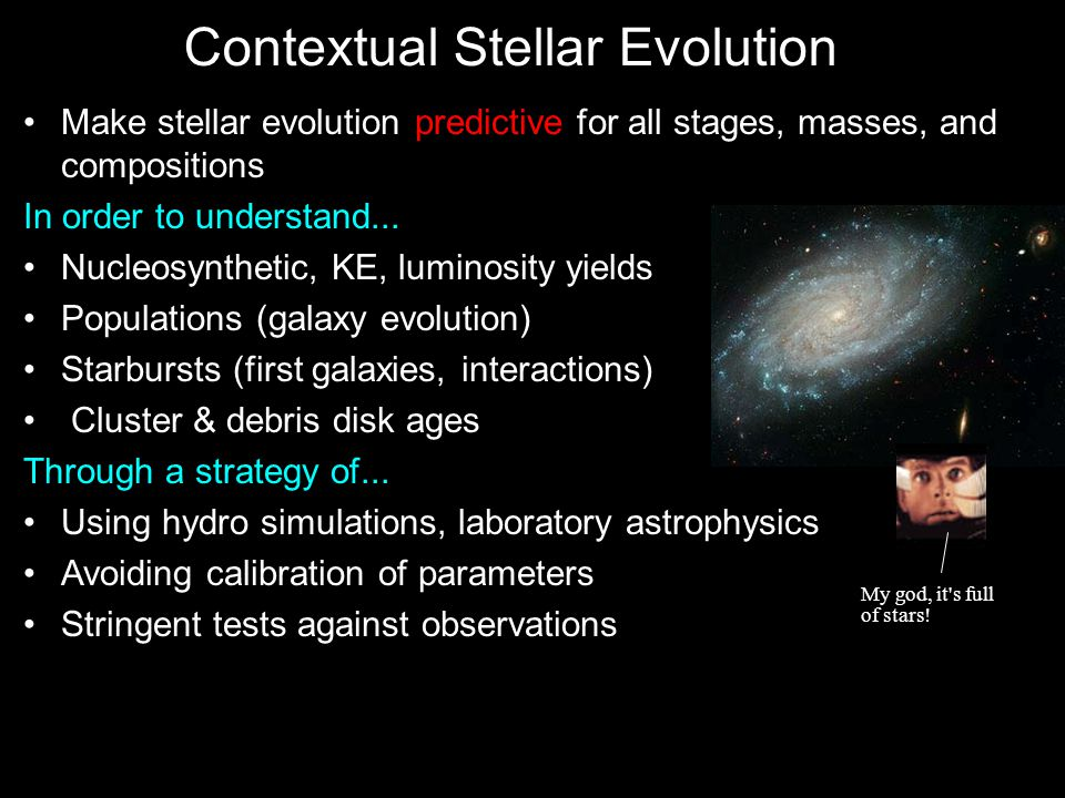 Contextual Stellar Evolution Make stellar evolution predictive for all stages, masses, and compositions In order to understand...