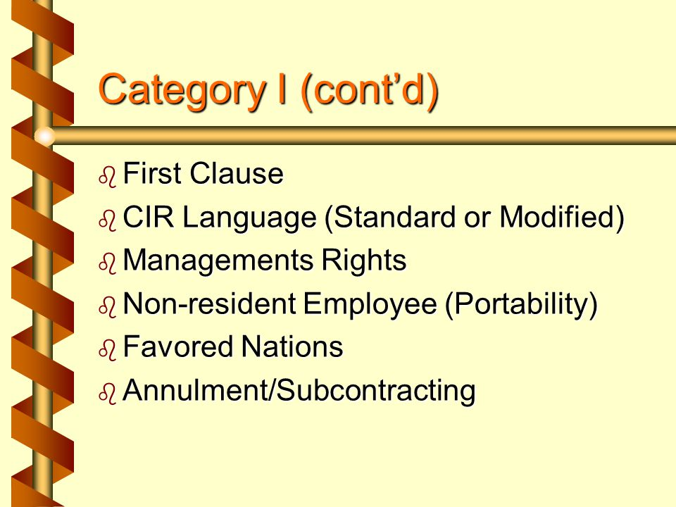 Category I b b By joint recommendation and in written agreement, all Construction Agreements between IBEW Local Unions and NECA Chapters must contain all Category I Language verbatim, i.e., no deviations or changes to these clauses are permitted.
