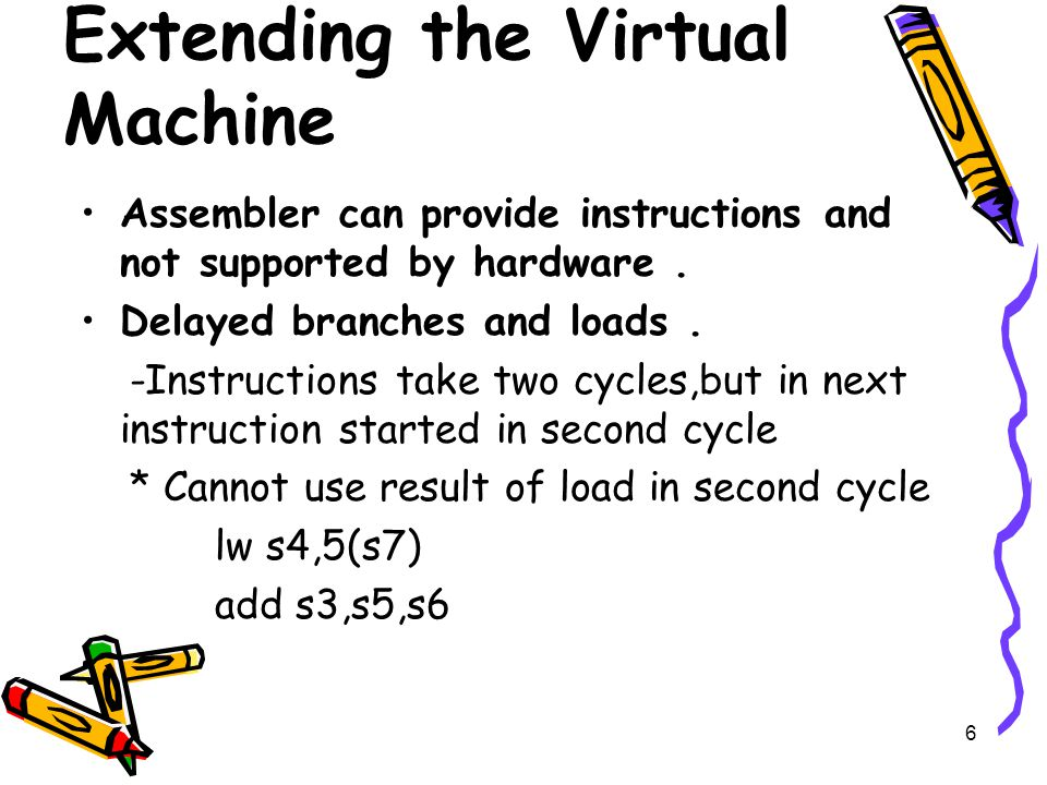 6 Extending the Virtual Machine Assembler can provide instructions and not supported by hardware.