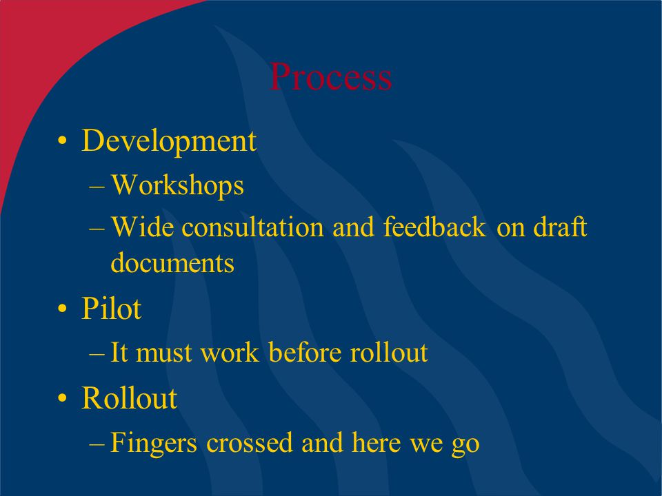 Process Development –Workshops –Wide consultation and feedback on draft documents Pilot –It must work before rollout Rollout –Fingers crossed and here